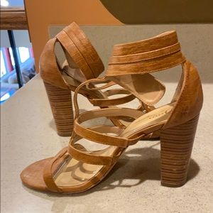 Tan Embossed Strappy Heeled Sandal- 10